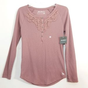 NWT Eddie Bauer vintage rose lace waffle thermal M